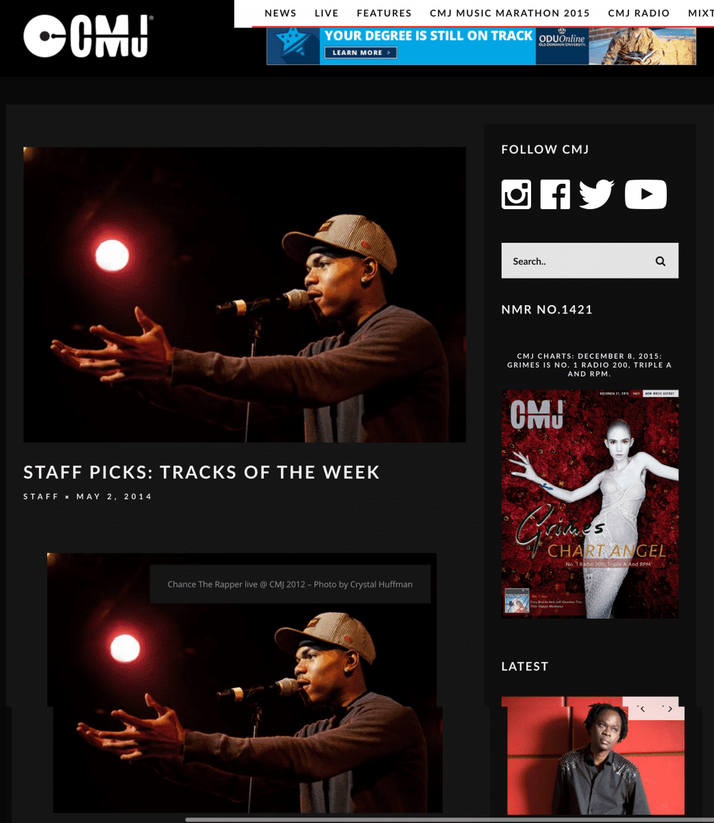 CMJ-Staff-Picks-Tracks-Of-The-Week-Chance-Tobacco-and-more